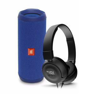 Parlante-JBL-Flip-4-azul-audifonos-JBL-T450