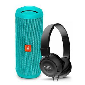 Parlante-JBL-Flip-4-verde-azulado-audifonos-JBL-T450