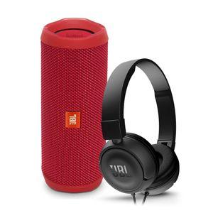Parlante-JBL-Flip-4-rojo-audifonos-JBL-T450