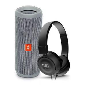 Parlante-JBL-Flip-4-gris-audifonos-JBL-T450